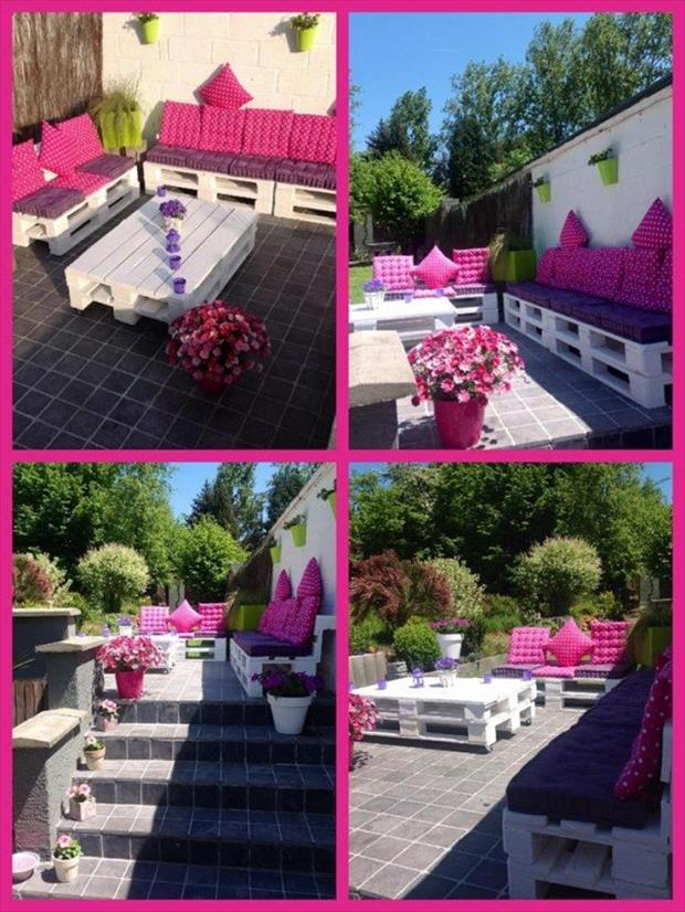 Reuse old pallet ideas dumpaday pictures 27 dump a day for Salon de terrasse en palette