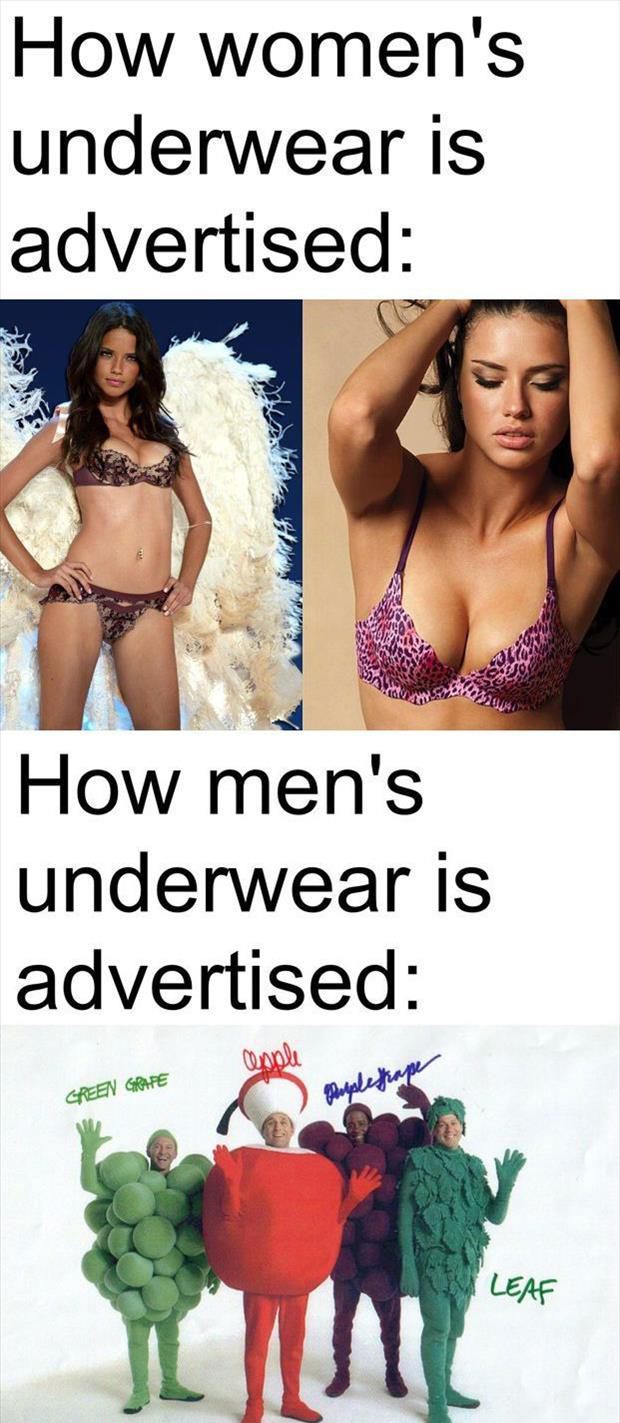 sexy women underware vs men's underware