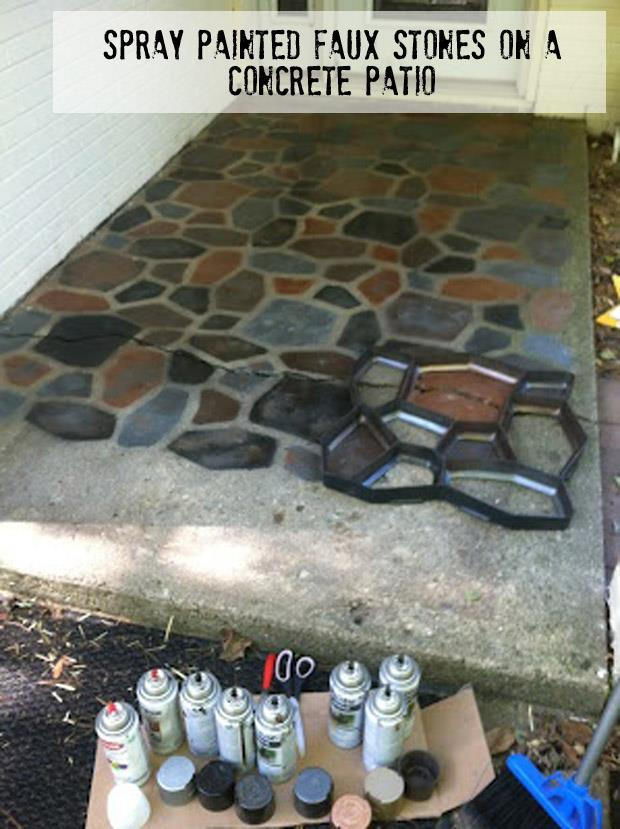 spray paint your stones for a cool walk way