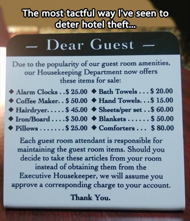 stealing from a hotel