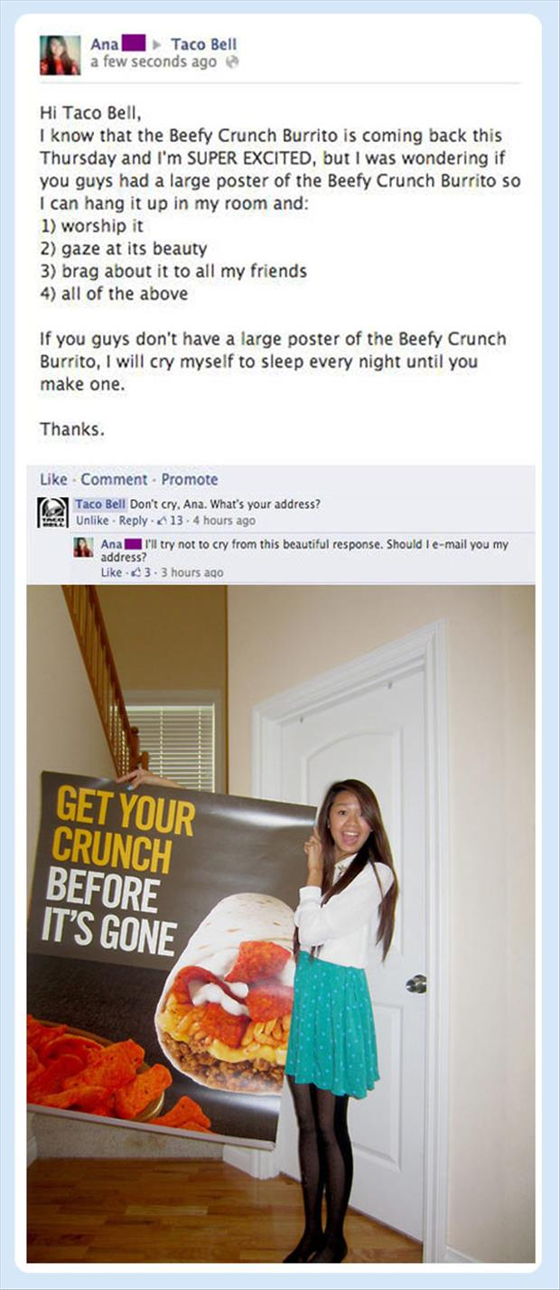 taco bell sends woman a poster