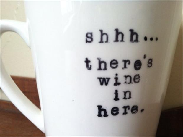 wine in a coffee cup