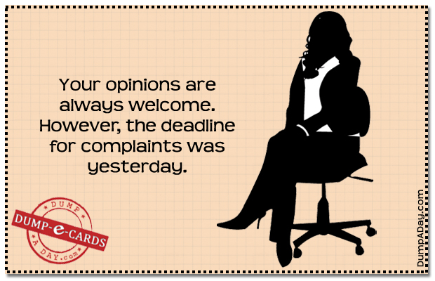 Your opinions Dump E-card