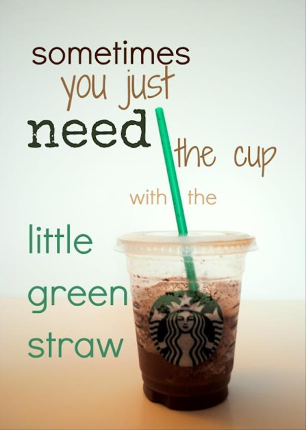 cup with the little green straw