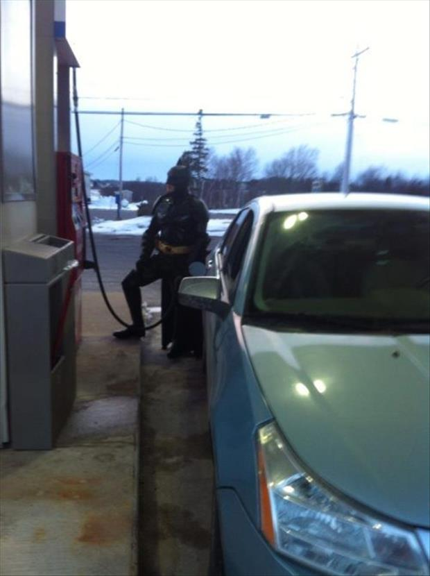 fueling up the batmobile