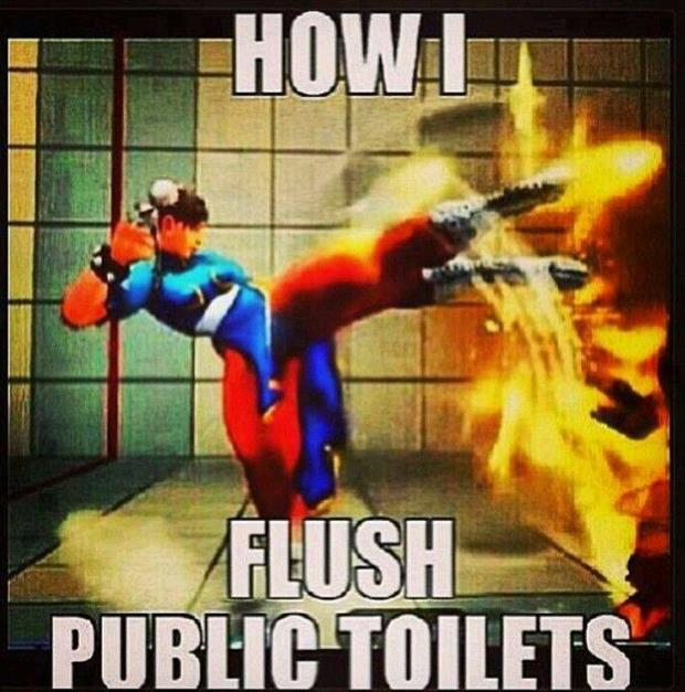 how to flush a public toilet