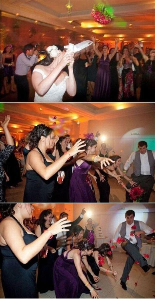 kicking the flowers of a bride