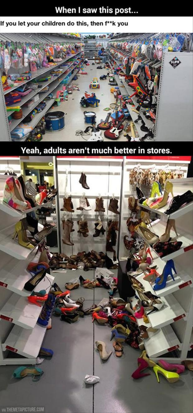 kids and adults in stores