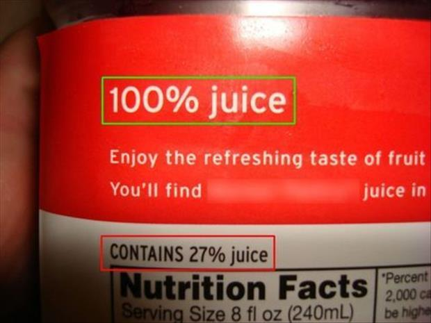 one hundred percent juice