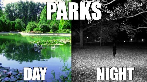 parks in the day vs parks in the night