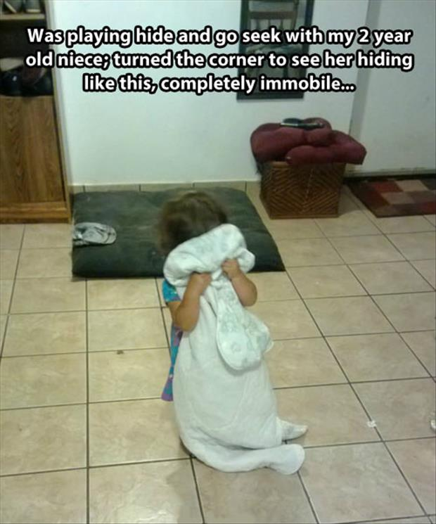 playing hide and seek with little girl
