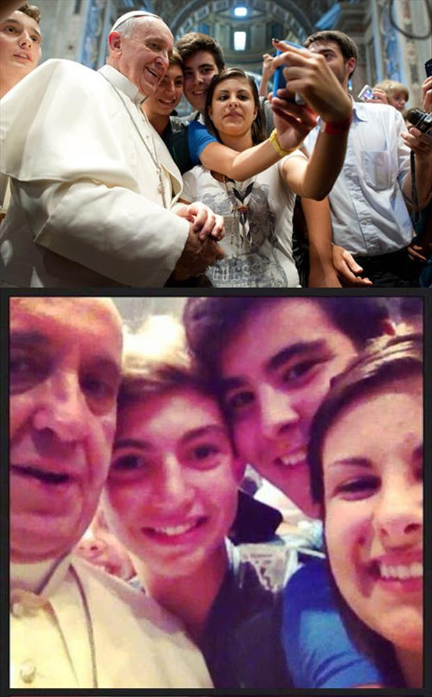 selphie with the pope