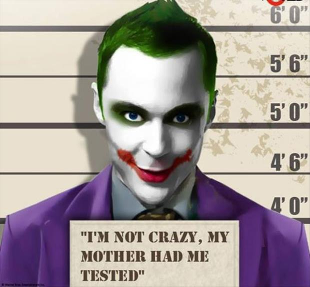 sheldon cooper as joker