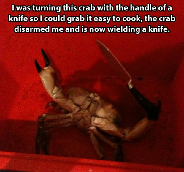the crab with a knife