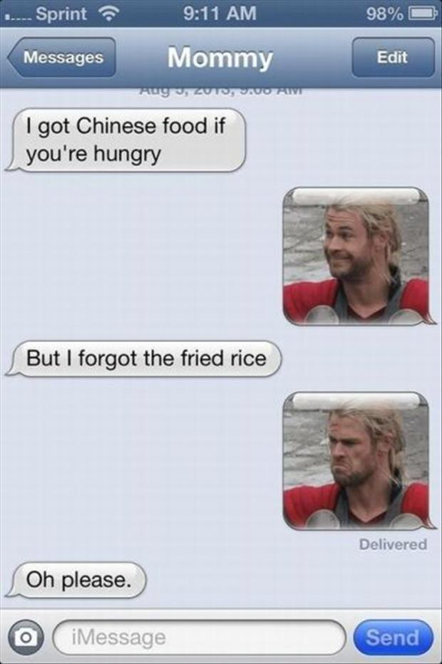 thor funny texts