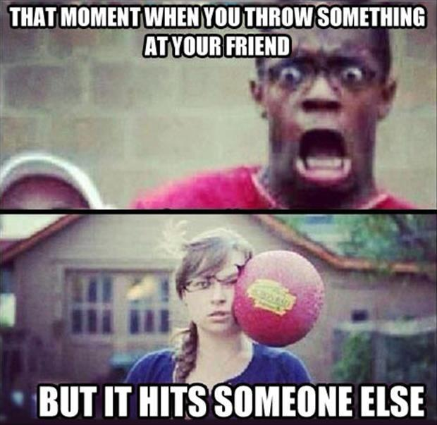 throw something at a friend