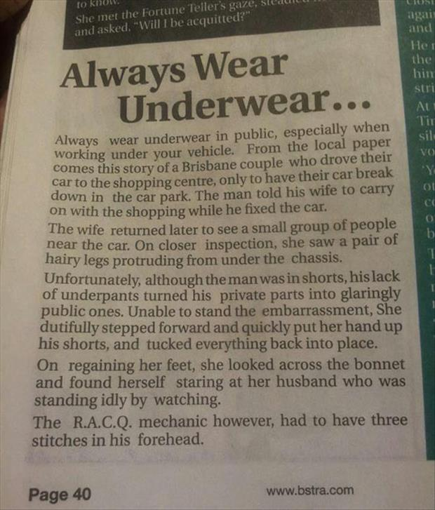 wear underware