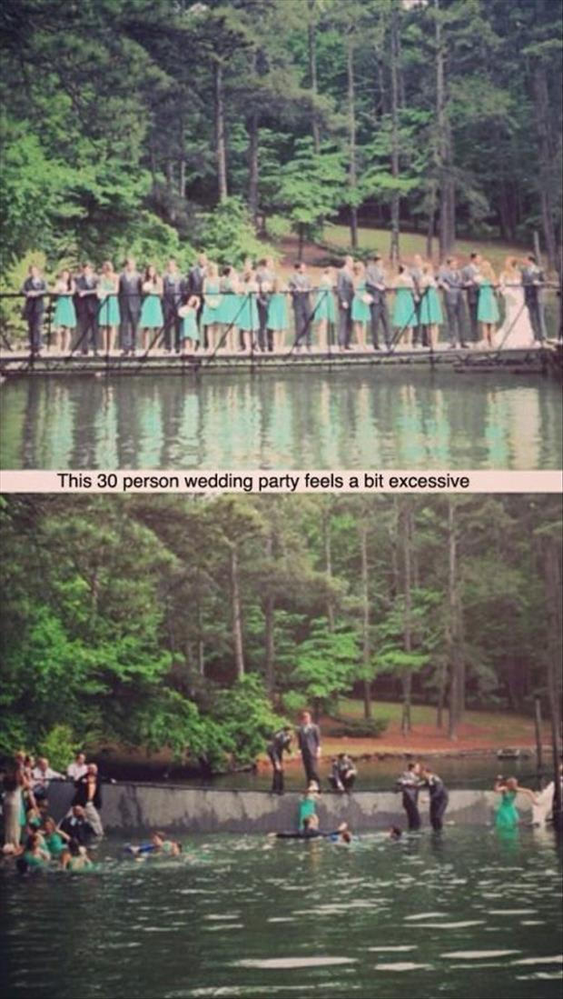 wedding party gets wet