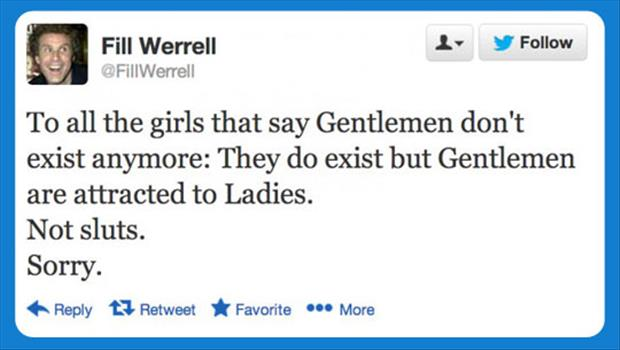 will ferrel tweets funny sluts