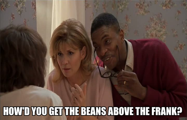 beans above the franks
