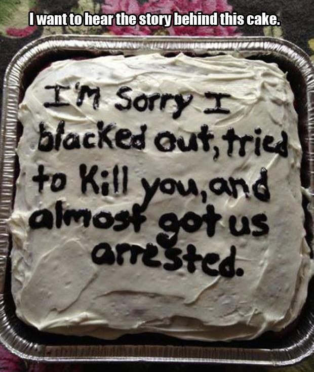 blacked out cake
