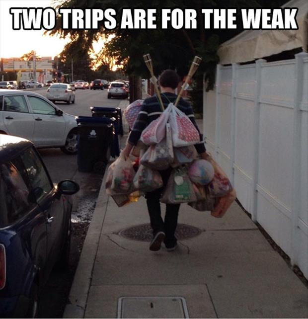 carrying in the groceries