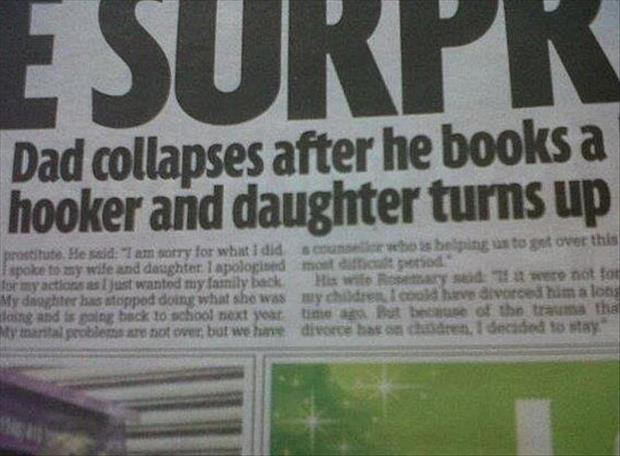 dad books a hooker and his daughter shows up