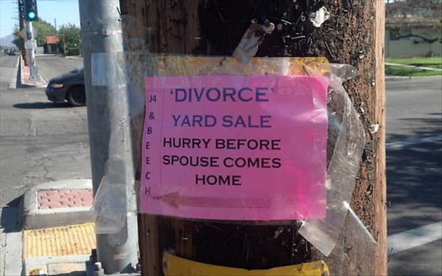 divorce garage sale