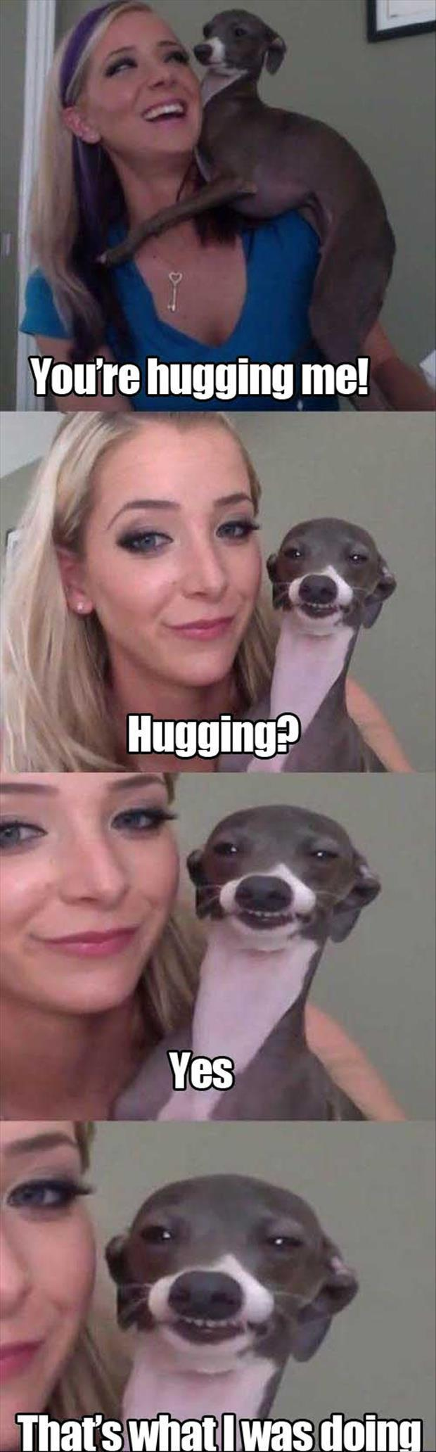 dog hugging woman