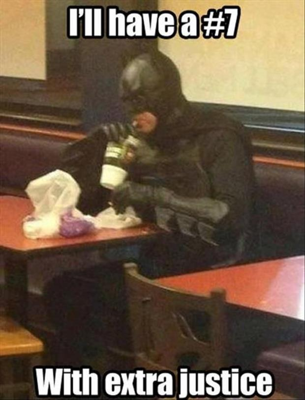 funny batman at Mcdonalds