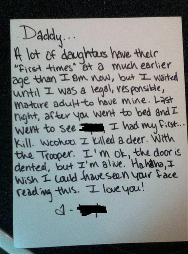 funny notes to parents