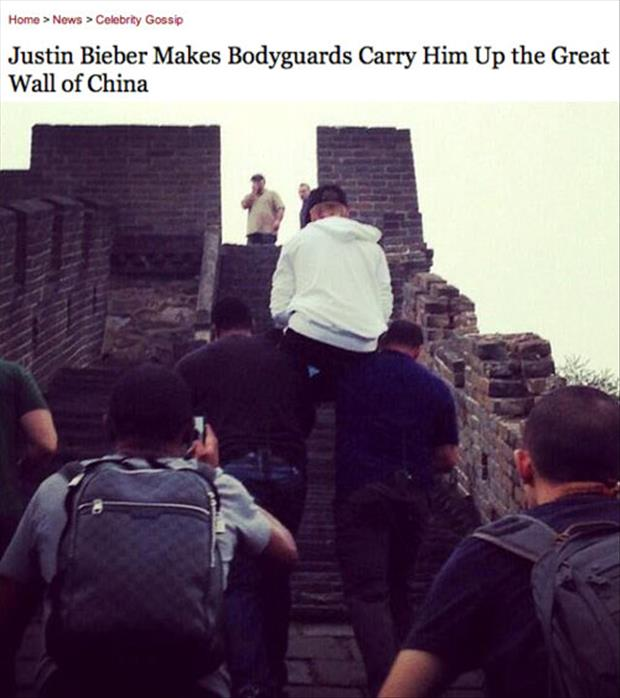 justin bieber made his bodygaurds carry him up the great wall of china