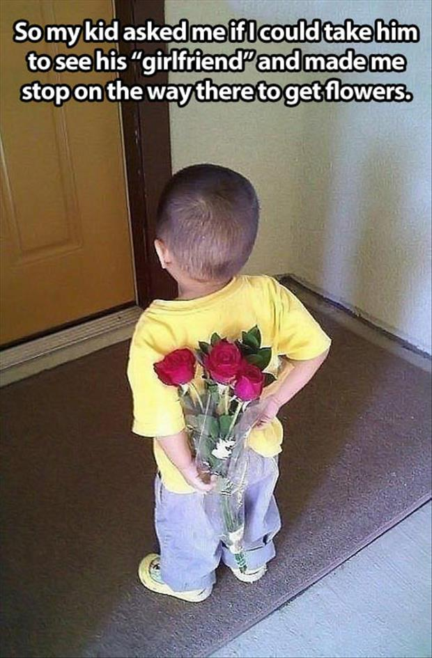 kid gets girl flowers