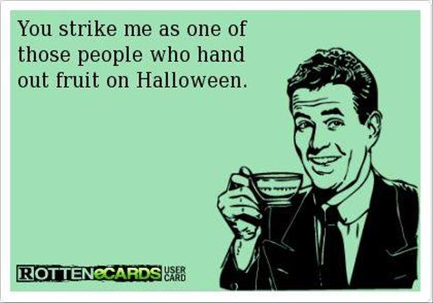 passing out fruit for halloween