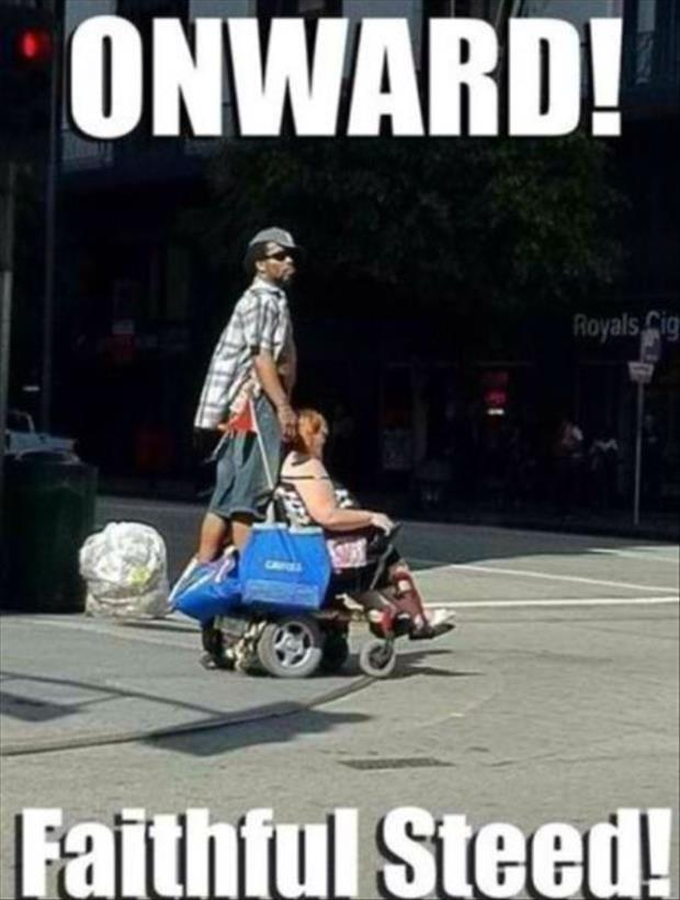 riding in a wheelchair