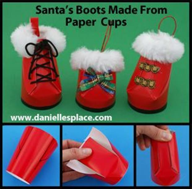 santa boots made from cups crafts