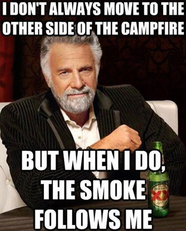 smoking camp fire