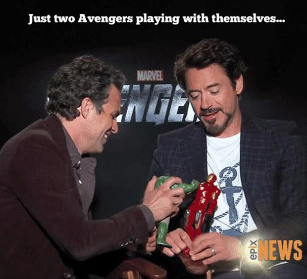 two avengers playing with themselves