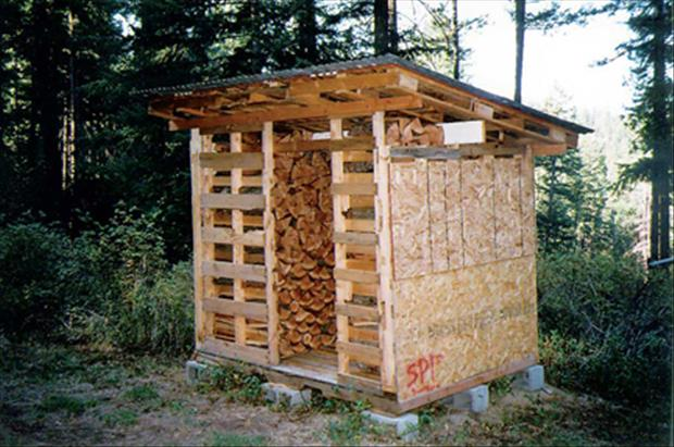 Wood pallets can be used to construct a firewood drying abnd storage shed.