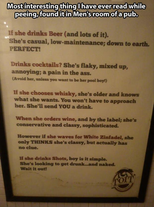 a woman drinking sign