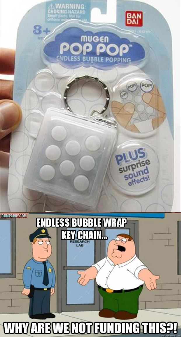 bubble wrap key chain