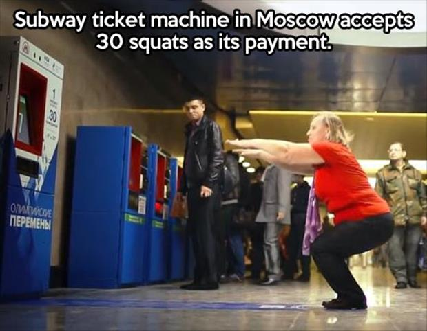 buying a subway ticket with a workout