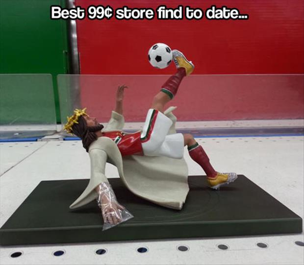 dollar store jesus soccer player