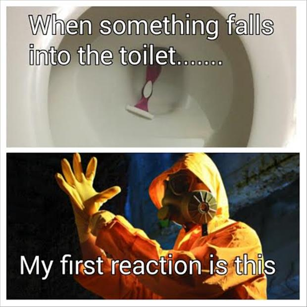 dropping something in the toilet