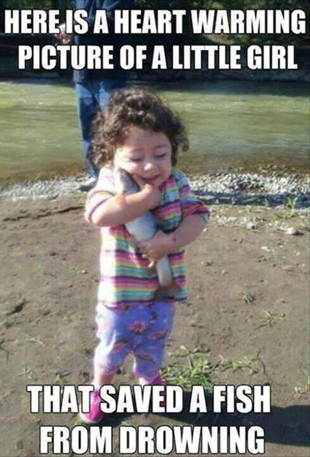happy little girl and her fish