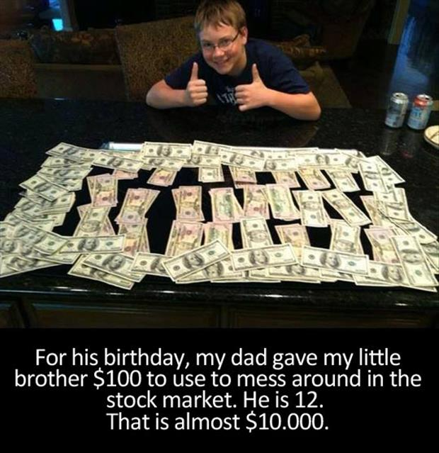kid plays the stock market