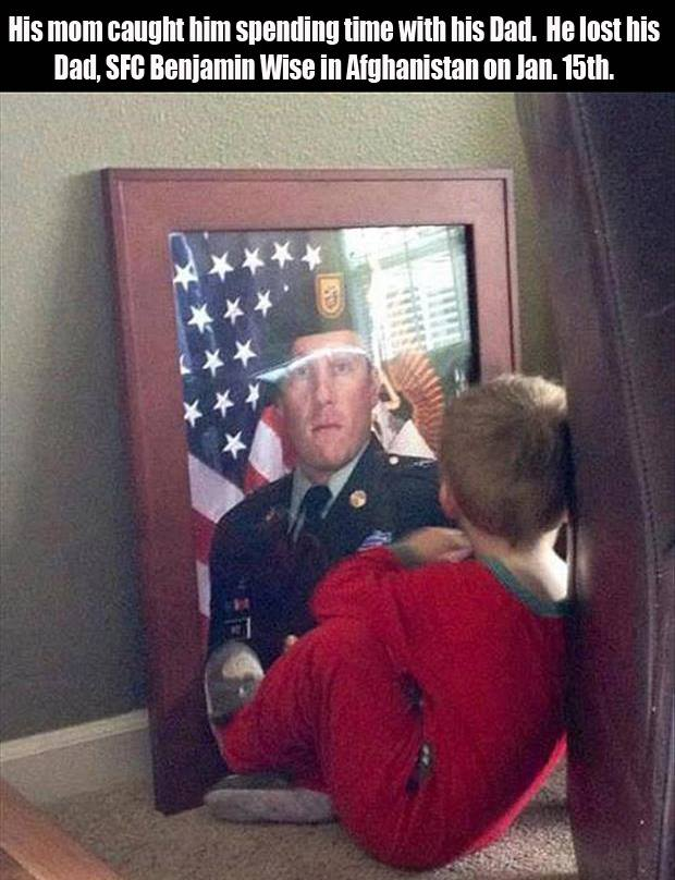 little boy spending time with his military dad