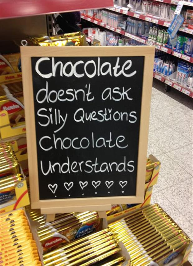 signs in a store chocolate