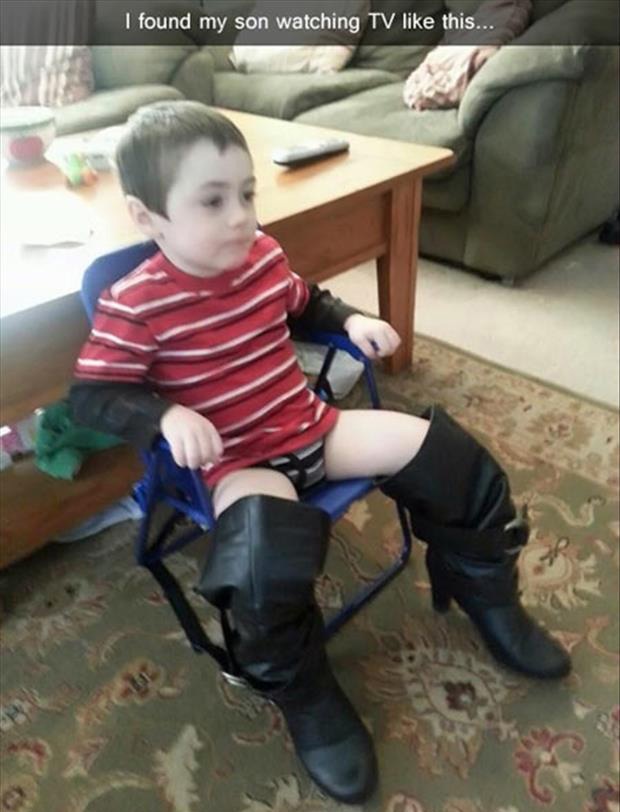 a kid in boots