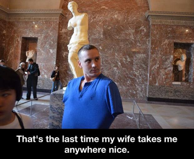 a wife takes her husband somewhere nice